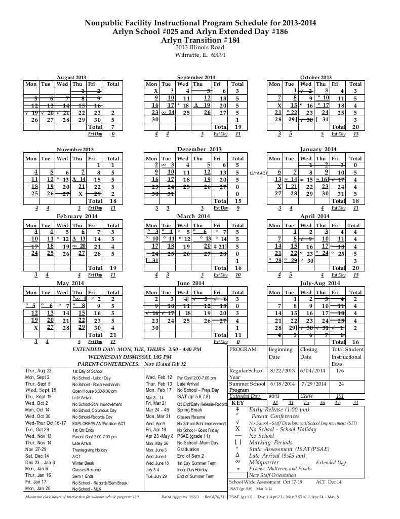 ARLYN 2013-14 PROGRAM Calendar